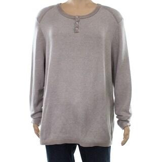 Alfani Oatmeal Mens Henley Crewneck Cotton Sweater