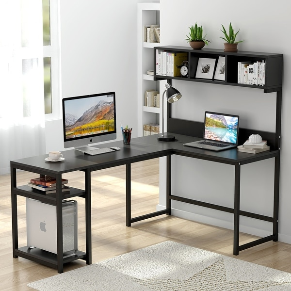 Large L-Shaped Computer Desk with Hutch and Storage shelves. Opens flyout.