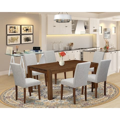 Dining Room Table Set Contains a Table and Parson Chairs with Doeskin Color Linen Fabric (Number of Chair Option)