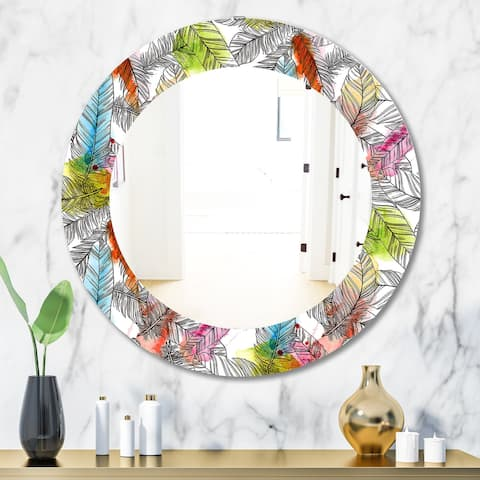 Designart 'Tropical Mood Bright 6' Bohemian and Eclectic Mirror - Oval or Round Wall Mirror - White