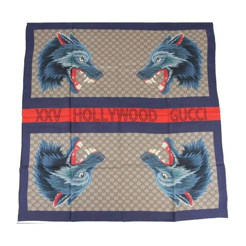 "Gucci Women's Brown GG Silk Blue Wolf Print ""XXV HOLLYWOOD GUCCI"" Scarf 495527 4174 - One Size"