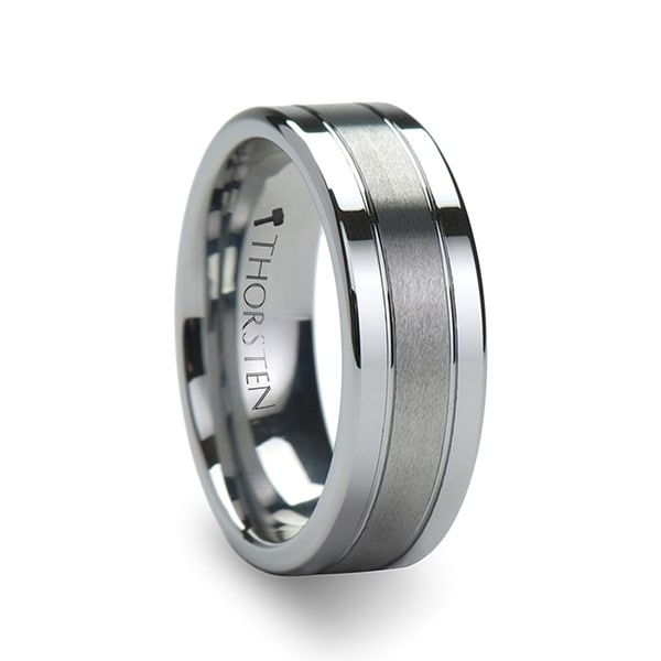 Chronos Flat With Offset Grooves Polished Edges And Satin Center Tungsten Band