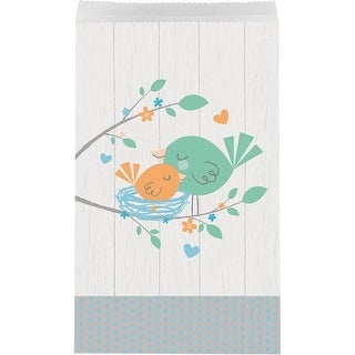 Club pack of 120 Off White and Green Hello Baby Paper Bird Theme Disposable Treat Bag 11