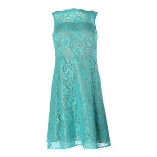 Calvin Klein Womens Petites Lace Sleeveless Cocktail Dress