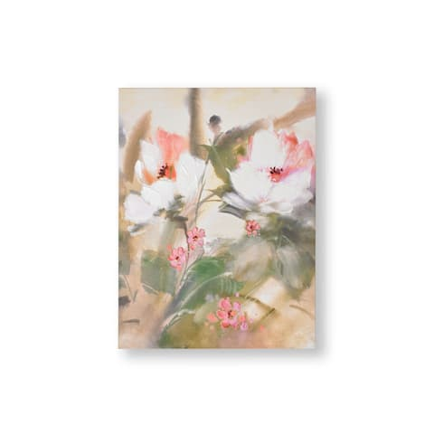 """Graham and Brown 104014 Tropic Blooms 32"""" x 24"""" Frameless Botanical Painting on Stretched Canvas - Green"""