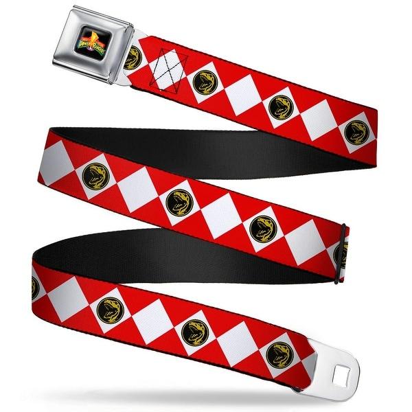 Power Rangers Logo Full Color Red Ranger Diamonds Webbing Seatbelt Belt Seatbelt Belt