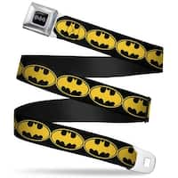 Batman Black Silver Bat Signal 3 Black Fluorescent Yellow Black Webbing Seatbelt Belt