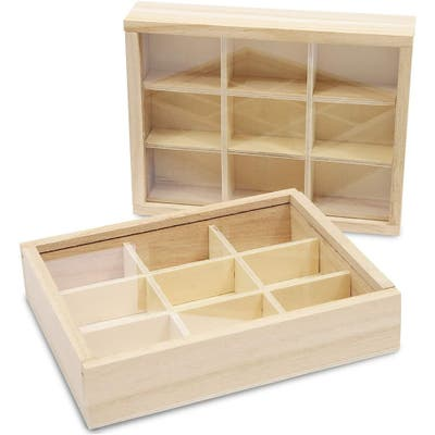 Wooden Boxes with Lids, 9 Compartment Storage Box (6.75 x 5.1 In, 2 Pack)