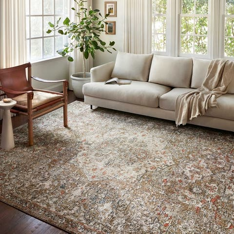 Alexander Home Valeria Distressed Medallion Area Rug