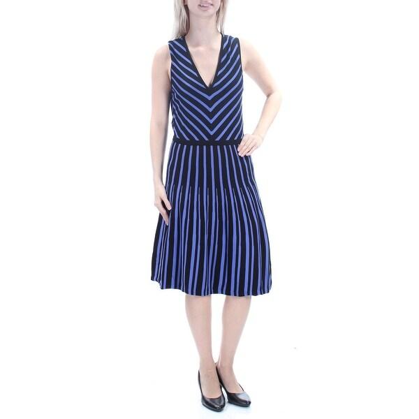 Purple Sleeveless Knee Length Dress