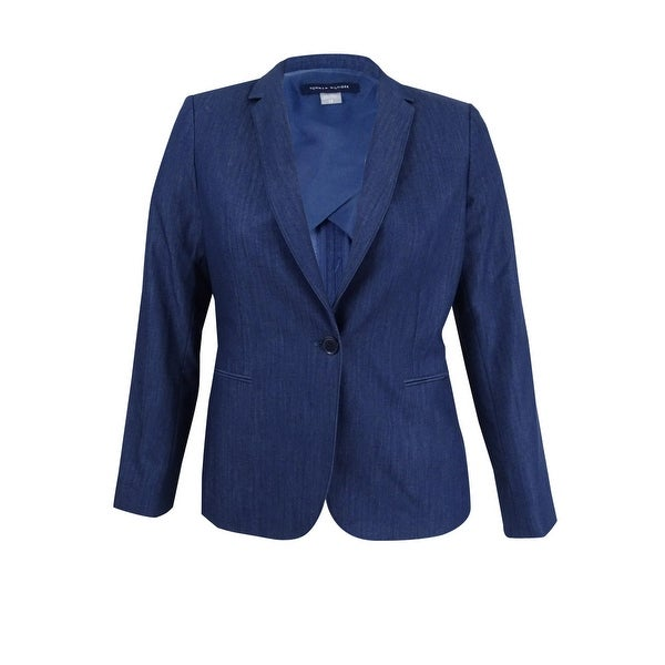 Tommy Hilfiger Women's Denim Blazer (6, Light Wash Denim) - Light Wash Denim - 6