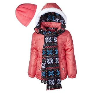 Pink Platinum Little Girls Hooded Winter Bubble Jacket Coat Matching Hat & Scarf