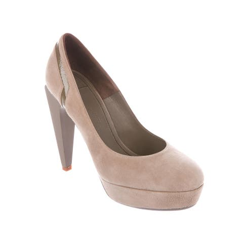 Versace Collection Women's Suede Leather Pumps Beige