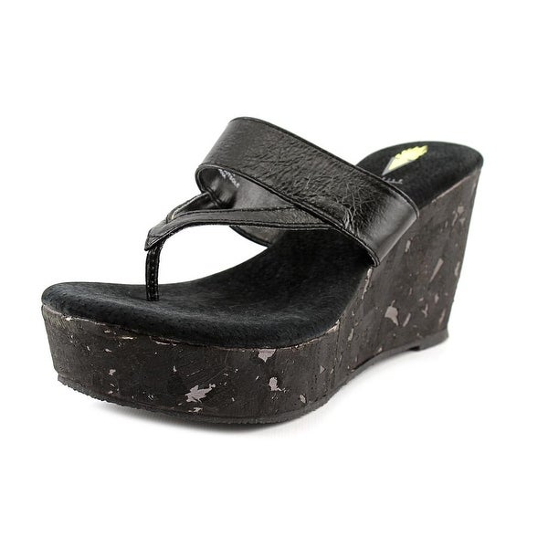 Volatile Jaitlyn Women Open Toe Leather Black Wedge Sandal