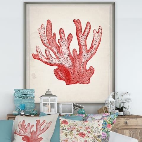 Designart 'Red Coral 3' Nautical & Coastal Framed Art Print