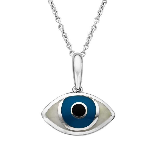 Kabana 'Mati' Mother-of-Pearl Evil Eye Pendant in Sterling Silver - White