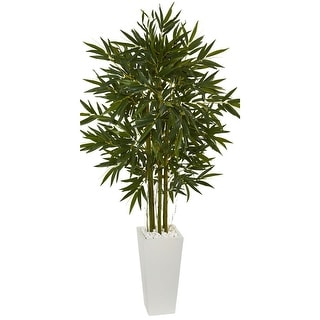 Nearly Natural 6' Bamboo Artificial Tree in White Tower Planter