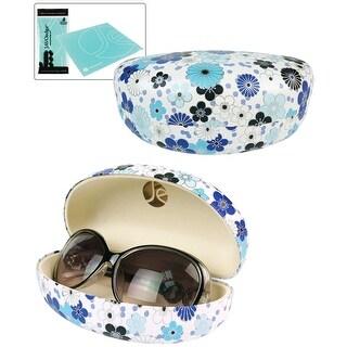 JAVOedge Japanese Blossom Pattern Hard Clamshell Sunglass Case / Eyeglass Case and Bonus Microfiber Cleaning Cloth - Blue