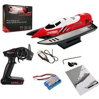Gymax 2.4G Brushed RC Racing Boat High Speed Pool Racer RTR Auto-roll-back 27km/h New