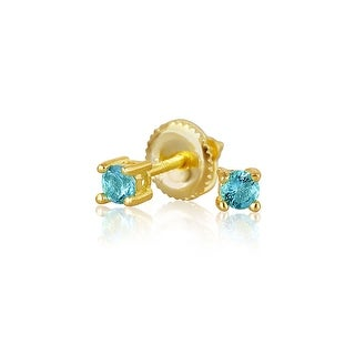 Bling Jewelry Gold Plated Silver 3mm Light Blue CZ Kids Studs