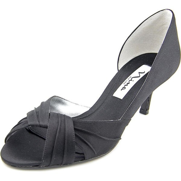 Nina Culver Womens Black Luster Pumps