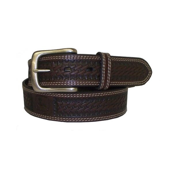 John Deere Western Belt Mens 38MM Bridle Nickel Finish