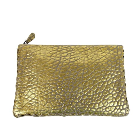 Bottega Veneta Women's Pouch Gold Leather Clutch Bag with Woven Trim 256400 1516 - One size
