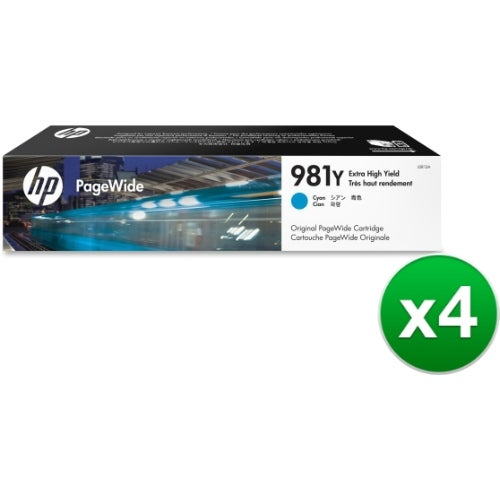 HP 981Y Extra High Yield Cyan Original PageWide Cartridge (L0R13A)(4-Pack)