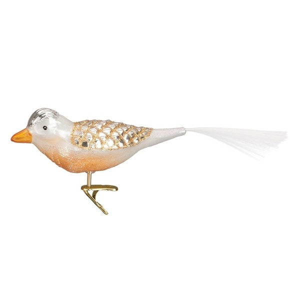 "8.5"" Old World Christmas Gold Winterland Bird Clip-On Glass Ornament #18114"