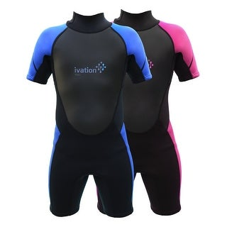 Ivation Kids Wetsuit - 3mm Thickness Premium Neoprene Short Youth Swim Wet Suit  Back Zipper Assist & Full UV Sun Protection