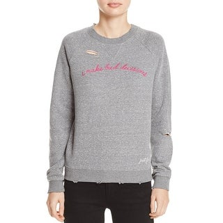 Honey Punch Womens Sweatshirt, Crew French Terry Distressed - L