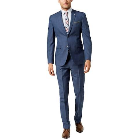 Penguin Mens Blue Plaid Two Button Formal Suit, Blue, 40 Short / 33W x 30L - 40 Short / 33W x 30L