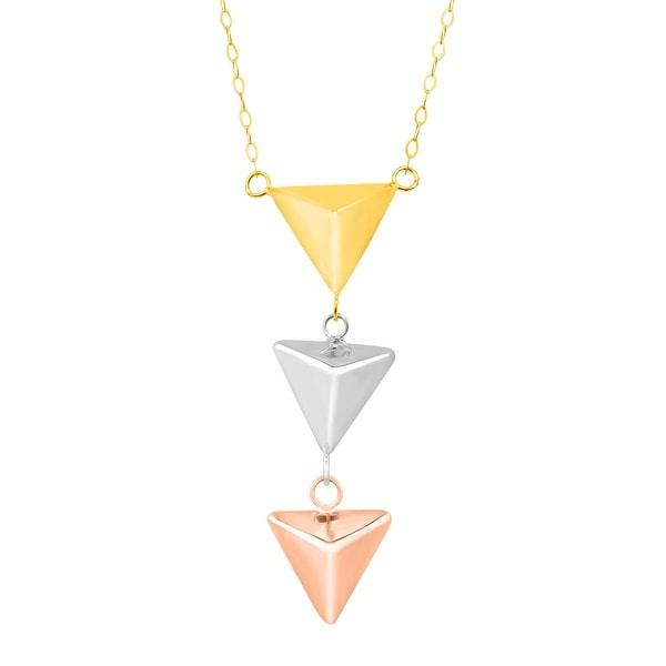 Just Gold Pyramid Lariat Necklace in 14K Three-Tone Gold