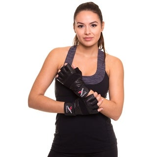 """Weight Lifting Gloves With 12"""" Wrist Support For Fitness Gym Workout Training - Black"""