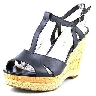 Franco Sarto Swerve Women Open Toe Leather Black Wedge Heel