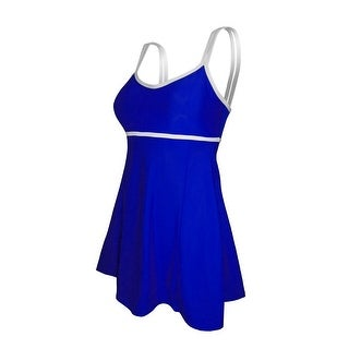 Deep Blue Womens Sapphire White Double Strap One Piece Swim Dress Womens