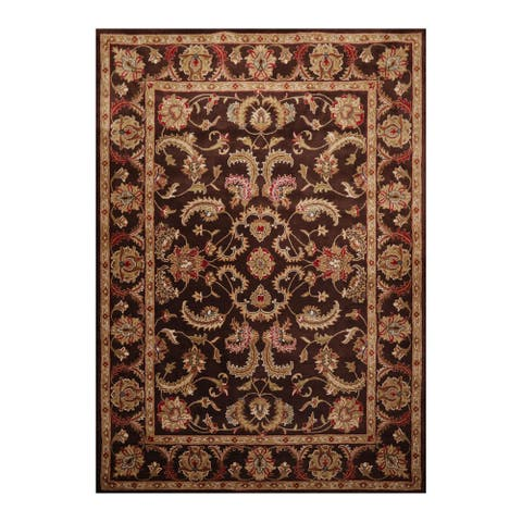 Hand Knotted Oriental Brown,Tan Hand Made Wool Traditional Oriental Area Rug (8x10) - 8' x 11'
