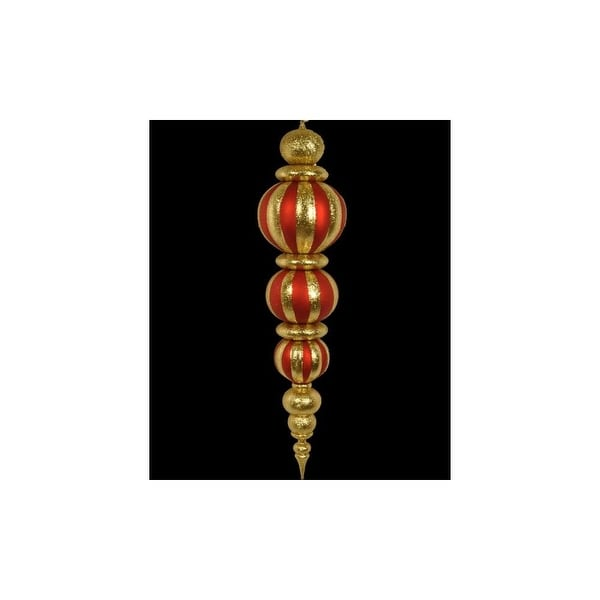 Christmas at Winterland WL-ORN-47-RE/GO 47 Inch Red and Gold Plastic Oversized Shatterproof Finial - Red/Gold - N/A