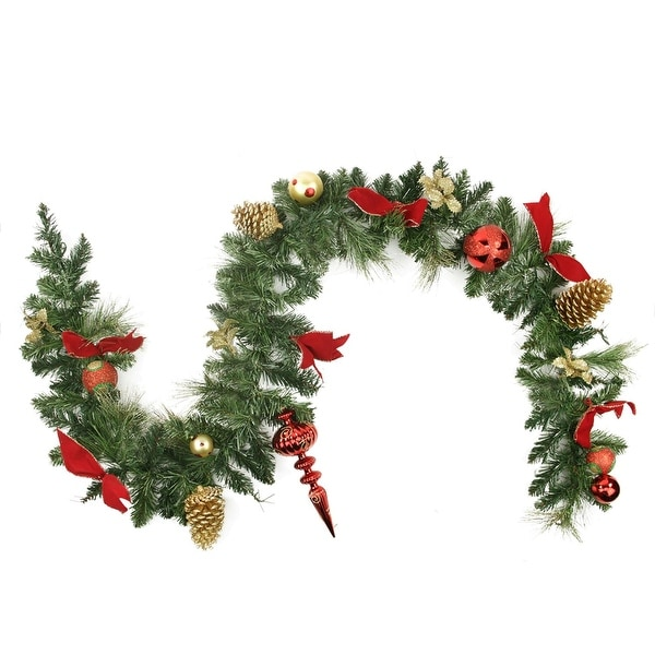 """6' x 10"""" Pre-Decorated Red and Gold Ball Ornaments and Bows Artificial Christmas Garland - Unlit"""
