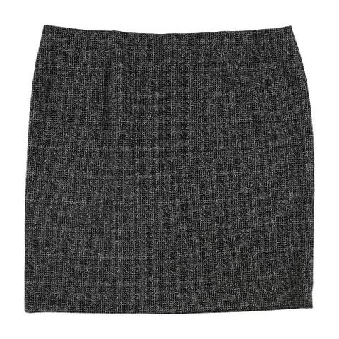 Nine West Womens Knit Slim Pencil Skirt, Black, 20W