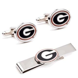 University of Georgia Bulldogs Cufflinks and Tie Bar Gift Set - Red