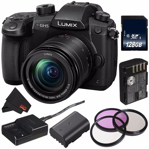 Panasonic Lumix DC-GH5 Mirrorless Micro Four Thirds Digital Camera with 12-60mm 3.5-5.6 Lens (International Model) Bundle