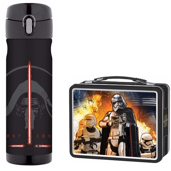 9b2f08a284 Shop Thermos 16oz Stainless Steel Drink Bottle w  Metal Lunch Kit - Star  Wars VII - Free Shipping On Orders Over  45 - Overstock - 18801997