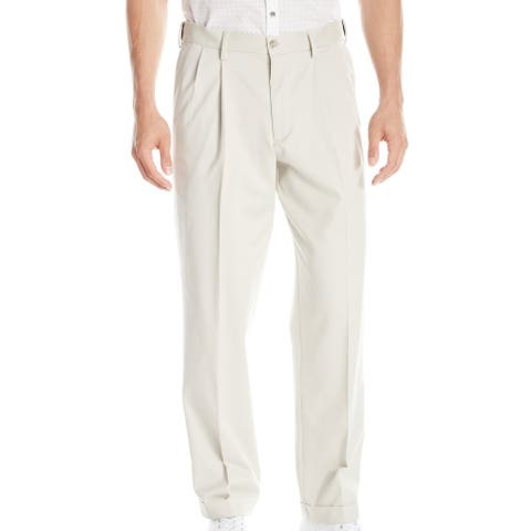 Dockers Mens Khaki Pants Beige Size 38 Relaxed Fit Comfort Pleated Front