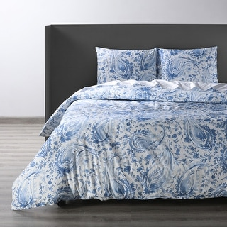 Link to Exclusive Fabrics Mystic Blue Cotton Percale Printed Duvet Cover Set Similar Items in Duvet Covers & Sets