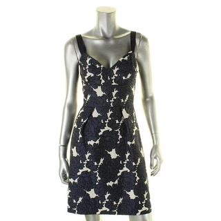 Vera Wang Womens Cocktail Dress Jacquard Floral Print
