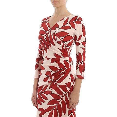 MAXMARA Womens Red Printed 3/4 Sleeve Sheath Evening Dress Size L