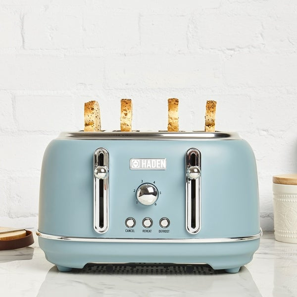 Haden Highclere 4-Slice, Wide Slot Toaster with Settings in Pool Blue. Opens flyout.