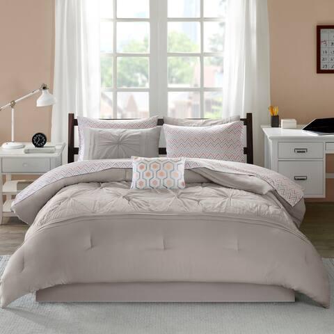 Devynn Grey Embroidered Comforter and Sheet Set by Intelligent Design