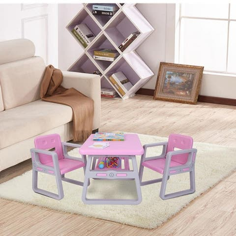 Toddler Activity Kids Table and Chairs Set Pink and Blue - N/A